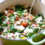Warm and Healthy Brown Rice Salad with rainbow veggies