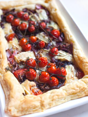 Caramelised Onion, Brie and Cherry Tomato Tart