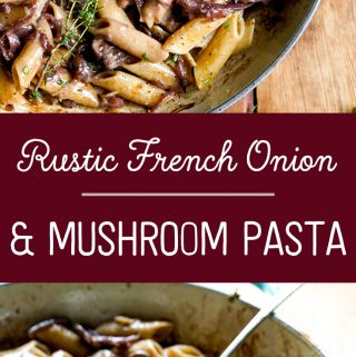 Tasty rustic french onion and mushroom dish recipe in cast iron pan