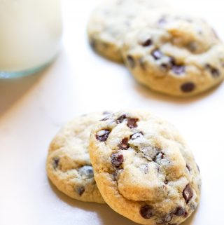 Chocolate Chip Cookies with a Glass of Milk