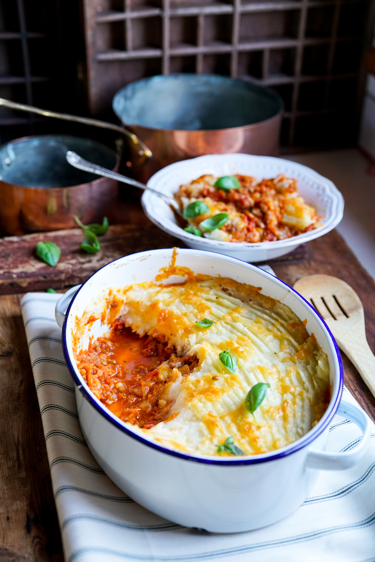 Lentil Cottage Pie with Cheesy Grilled Topping