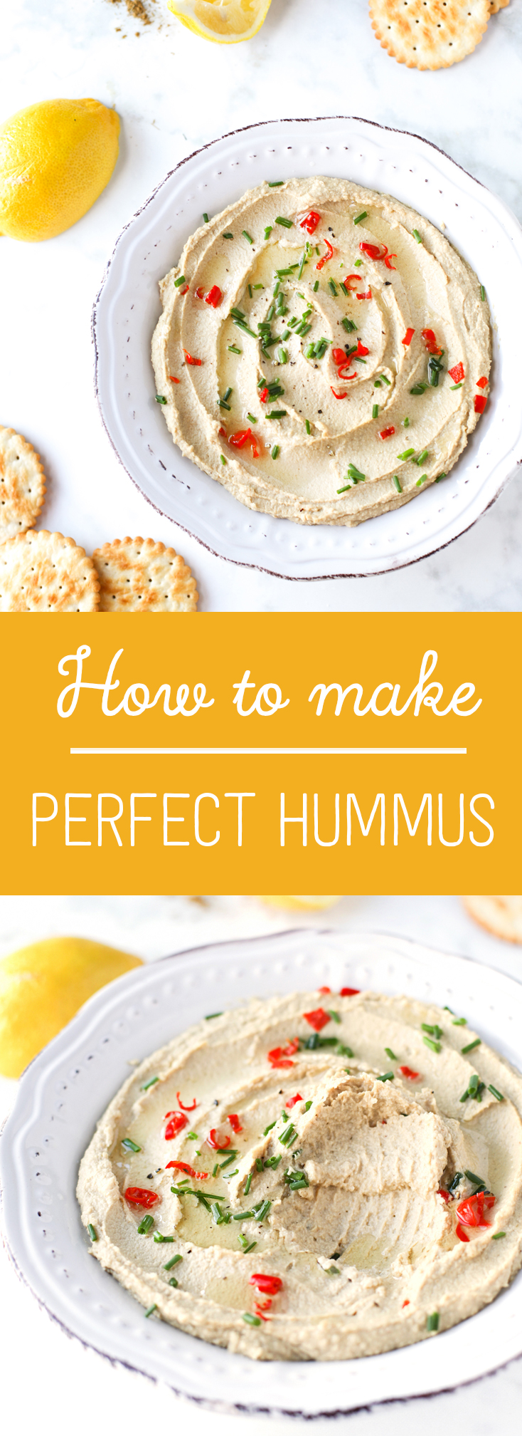 Hummus sprinkled with herbs and chilli served with crackers